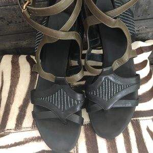 Balenciaga Black, Military Green, Strappy Sandal